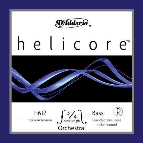 Helicore Orchestral Bass Single D String, 3/4 Scale, Medium Tension