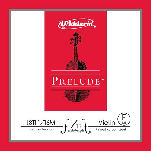 Prelude Violin Single E String, 1/16 Scale, Medium Tension, Tinned Carbon Steel