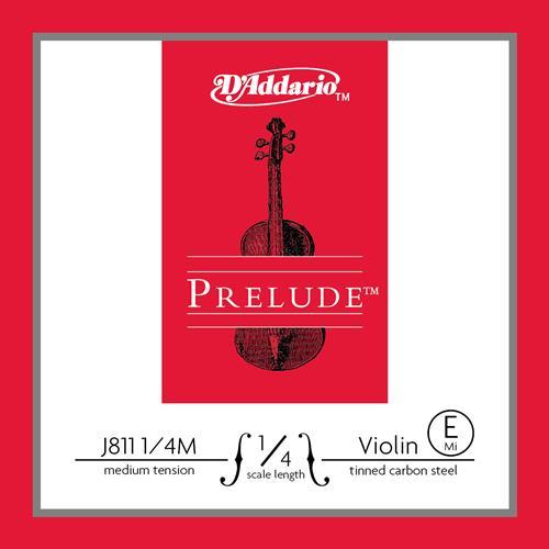 Prelude Violin Single E String, 1/4 Scale, Medium Tension, Tinned Carbon Steel