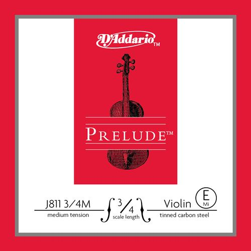 Prelude Violin Single E String, 3/4 Scale, Medium Tension, Tinned Carbon Steel