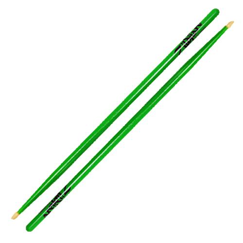 Zildjian Drum Sticks: 5A Acorn Neon Green - 5ACWDGG