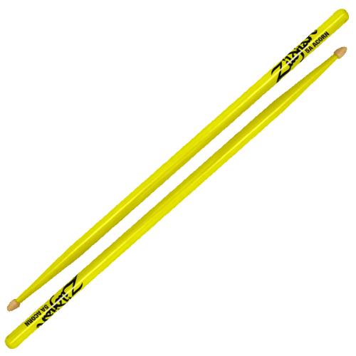 Zildjian Drum Sticks: 5A Acorn Neon Yellow: 5ACWDGY