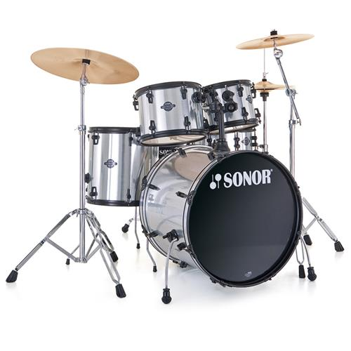 """Sonor Smart Force Stage 2 Drum Kit - 22"""",10"""",12"""",14"""", with Hardware, Brushed Chrome"""