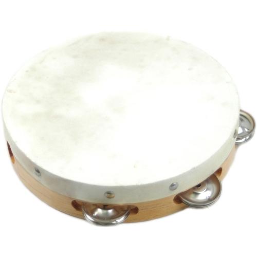 """Tambourine w/Head Duplex B308 8"""" Single Jingles Wood"""
