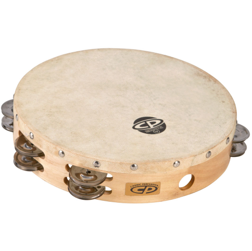 """Cosmic Percussion CP380 10"""" Tambourine - Wood Headed with Double Row Jingles"""