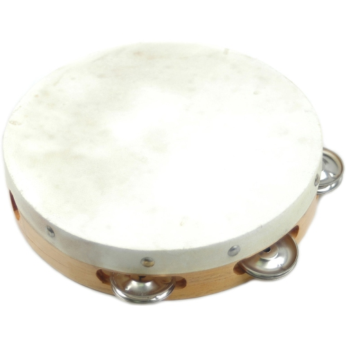 "Tambourine w/Head Duplex B306 6"" Single Jingles Wood"