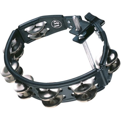 LP Mountable Cyclops Jingle Tambourine with Steel Jingles - Black