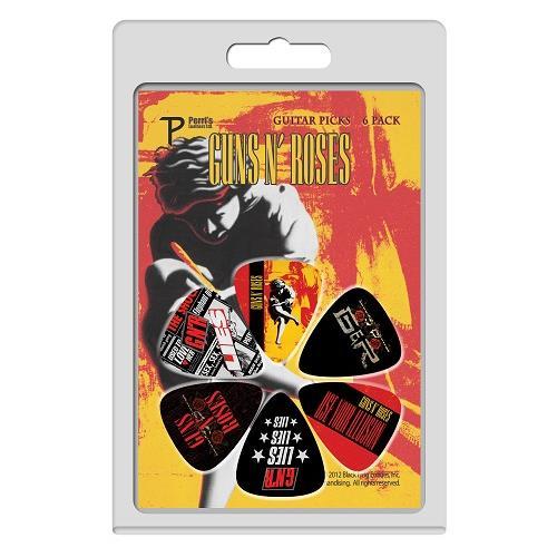 Perris Guns N' Roses Licensed Guitar Picks - 6 Pack, Black, Orange, Red