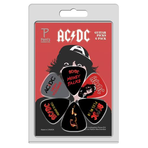 Perris ACDC Licensed Guitar Picks - 6 Pack, Black and Red