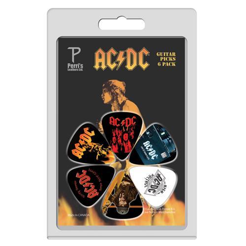 Perris ACDC Licensed Guitar Picks - 6 Pack, Black, Yellow, Orange, White