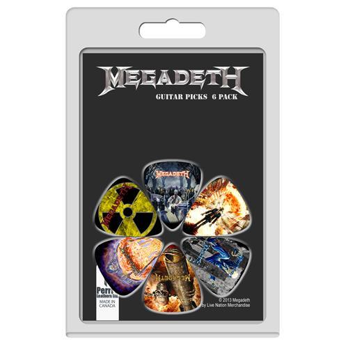 Perris Megadeth Licensed Guitar Picks - 6 Pack, Black, Yellow, Purple