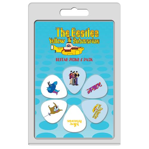 Perris The Beatles Yellow Submarine Licensed Guitar Picks - 6 Pack, White and Blue, Pattern 1