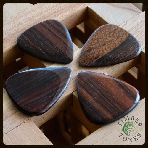 Timber Tones Macassar Ebony Guitar Picks - 4 Pack