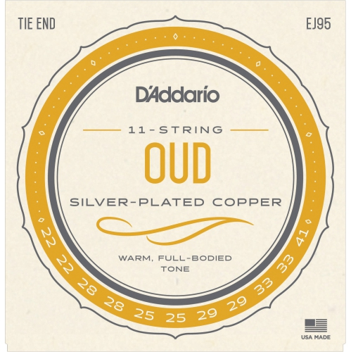D'Addario J95 Silverplated Wound on Nylon Oud Strings - Set of 11