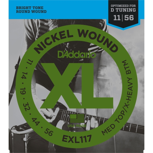 D'Addario EXL117 XL Nickel Wound Electric Guitar Strings - Medium Top/Extra-Heavy Bottom 11-56