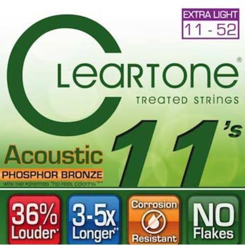Cleartone Phosphor Bronze Acoustic Strings - Custom Light, .011 - .052