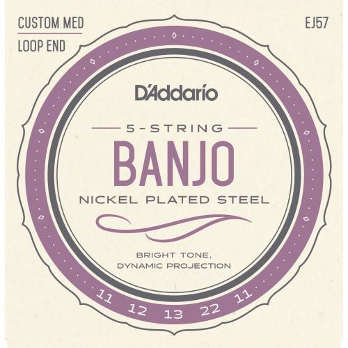 D'Addario J57 Strings - 5-String Bango, Nickel, Custom Medium, 11-22