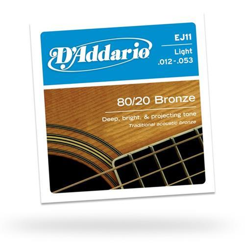 D'Addario EJ11 80/20 Bronze Acoustic Guitars Strings - Light 12-53