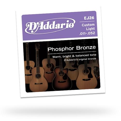 D'Addario EJ26 Phosphor Bronze Acoustic Guitars Strings - Custom Light 11-52