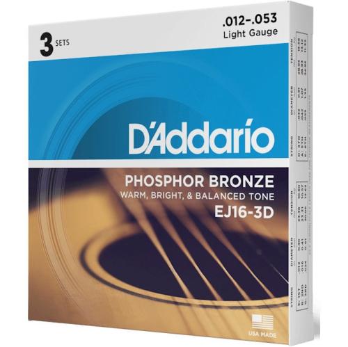 D'Addario EJ16 Phosphor Bronze Acoustic Guitars Strings 3 Pack - Light 12-53