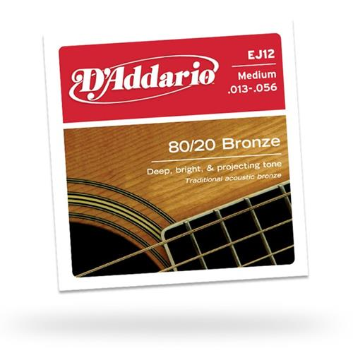 D'Addario EJ12 80/20 Bronze Acoustic Guitars Strings - Light 13-56