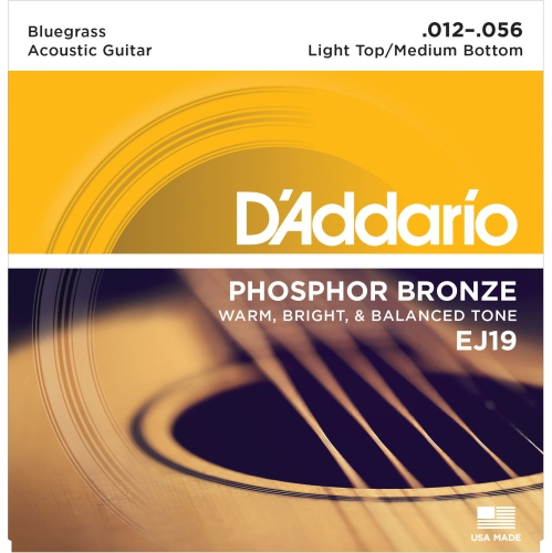 D'Addario EJ19 Phosphor Bronze Bluegrass Acoustic Guitars Strings - Hybrid 12-56