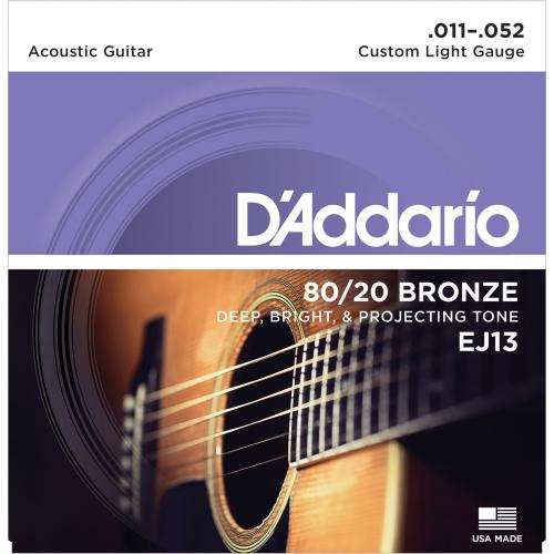 Strings Acoustic D'Addario EJ-13 80/20 Bronze Custom Light