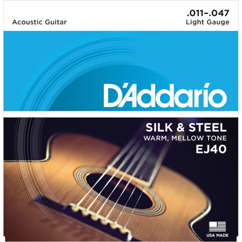 D'Addario EJ40 Silk & Steel Acoustic Guitars Strings - 11-47