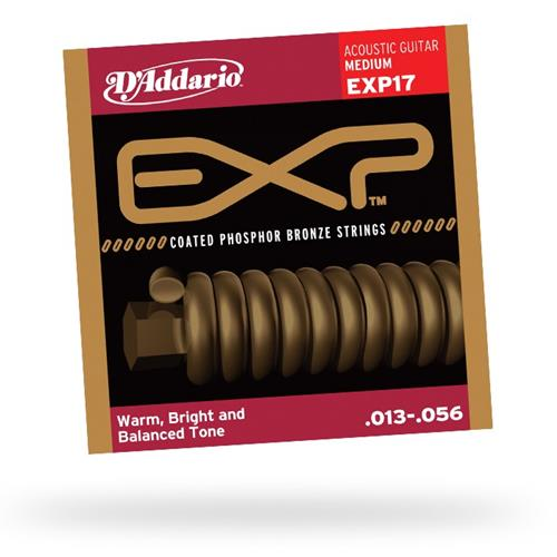 D'Addario EXP17 Coated Phosphor Bronze Acoustic Guitar Strings - Medium 13-56