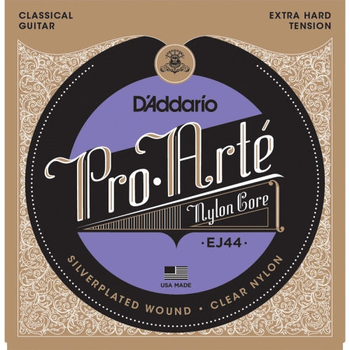D'Addario EJ44 Pro-Arte Silverplated Wound Clear Nylon Classical Guitar Strings - Extra-Hard Tension