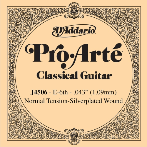 "D'Addario J4506 Silver Wound Classical Guitar Single String - Normal Tension ""E' or 6th"