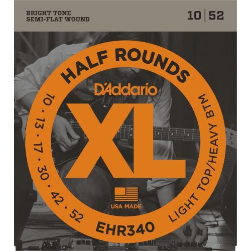 D'Addario EHR340 Half Rounds Electric Guitar Strings - Light Top/Heavy Bottom 10-52