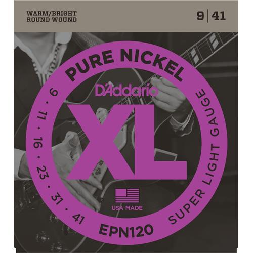 D'Addario EPN120 Pure Nickel Electric Guitar Strings - Super Light 9-41