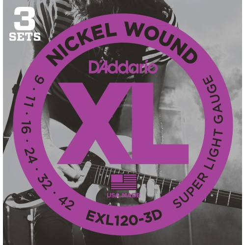 EXL120-3D Nickel Wound Electric Guitar Strings - 9-42, Super Light, 3 Pack