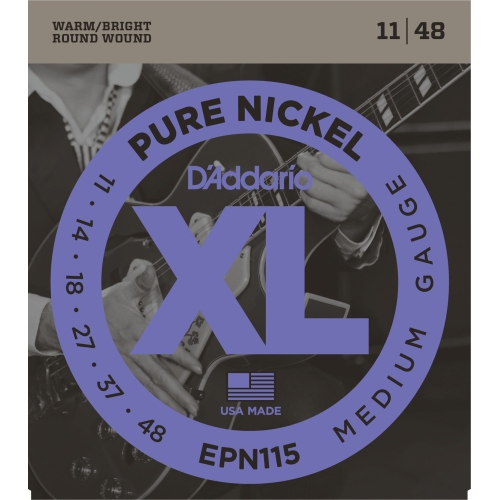 D'Addario EPN115 Pure Nickel Electric Guitar Strings - Blues/Jazz Rock 11-48