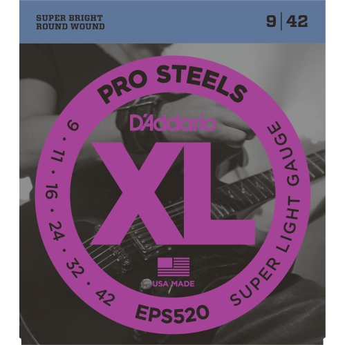 D'Addario EPS520 ProSteels Electric Guitar Strings - Super Light 9-42