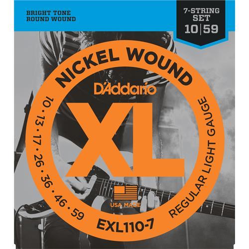 D'Addario EXL110-7 Nickel Wound 7-String Electric Guitar Strings - Regular Light 10-59