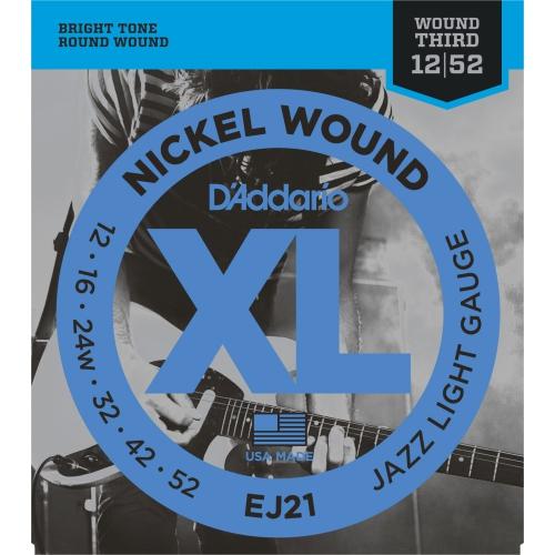D'Addario EJ21 Nickel Wound Electric Guitar Strings - Jazz Light 12-52