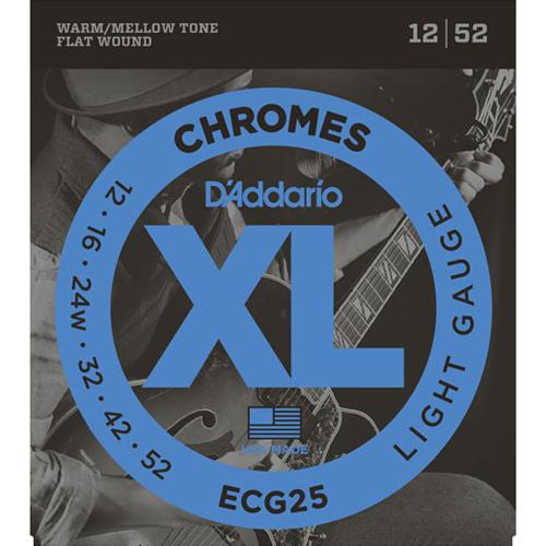 D'Addario ECG25 Chromes Flat Wound Electric Guitar Strings - Light 12-52