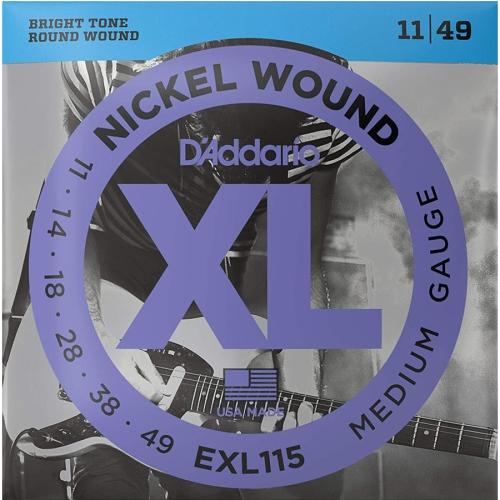 D'Addario EXL115 XL Nickel Wound Electric Guitar Strings - Medium/Blues-Jazz Rock 11-49