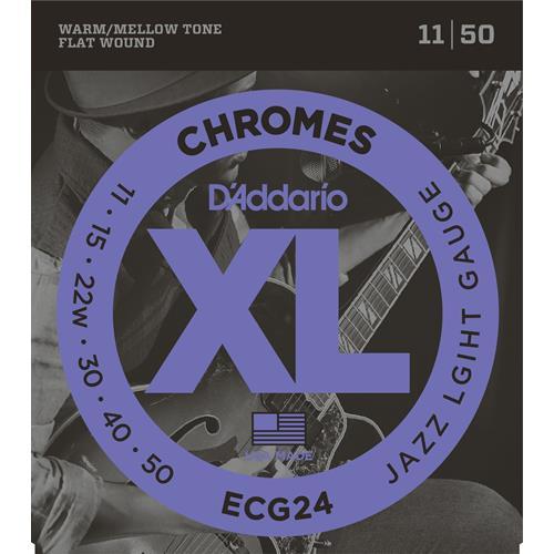 D'Addario ECG24 Chromes Flat Wound Electric Guitar Strings - Jazz Light 11-50