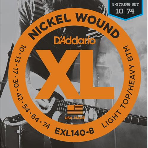 D'Addario EXL140-8 Nickel Wound 8-String Electric Guitar Strings - Light Top/Heavy Bottom 10-74