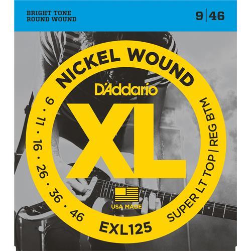 D'Addario EXL125 Nickel Wound Electric Guitar Strings - Super Light Top/Regular Bottom 9-46