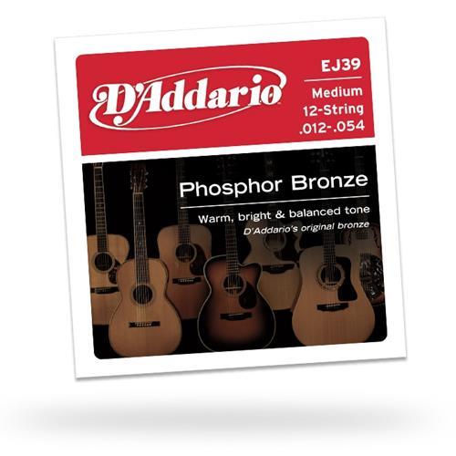 D'Addario EJ39 Phosphor Bronze 12-String Guitar Strings - Medium 12-52