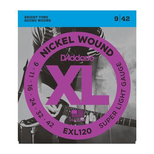 D'Addario EXL120 Nickel Wound Electric Guitar Strings - Super Light 9-42