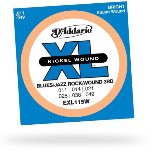 D'Addario EXL115W Nickel Wound Electric Guitar Strings Wound 3rd string - Medium/Blues-Jazz Rock 11-49