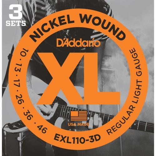 EXL110-3D Nickel Wound Electric Guitar Strings - 10-46, Regular Light, 3 Pack