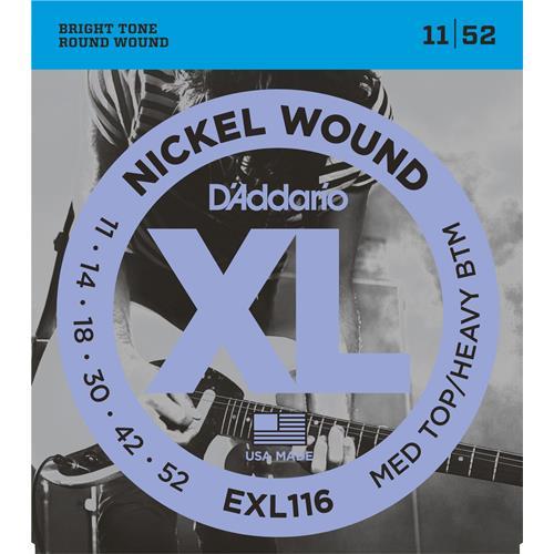 D'Addario EXL116 Nickel Wound Electric Guitar Strings - Medium Top/Heavy Bottom 11-52