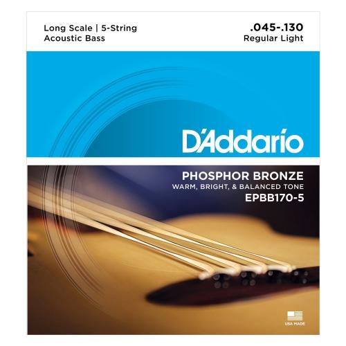 D'Addario EPBB170-5 Phosphor Bronze 5-String Acoustic Bass Guitar Strings - Long Scale 45-130