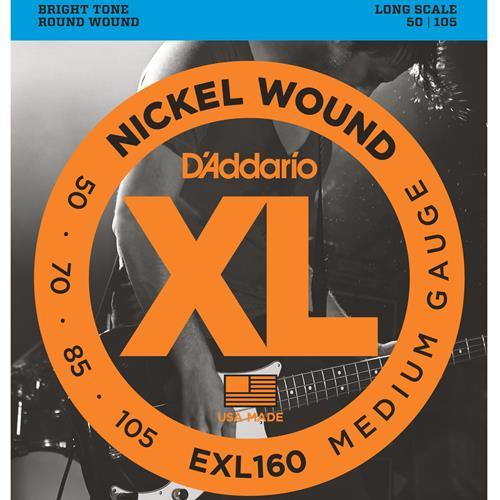D'Addario EXL160 Nickel Wound Bass Guitar Strings - Medium 50-105, Long Scale